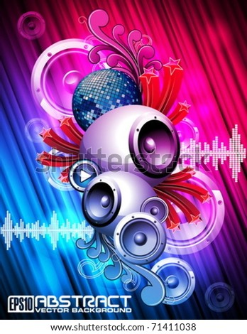 Abstract vector shiny background with speakers and design elements. - stock vector