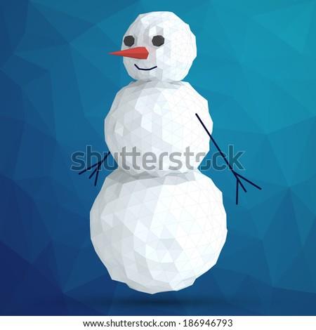 abstract vector snowman of polygons - stock vector
