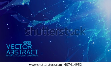 Abstract vector space blue background. Chaotically connected points and polygons flying in space. Flying debris. Futuristic technology style. Elegant background for business presentations.  - stock vector