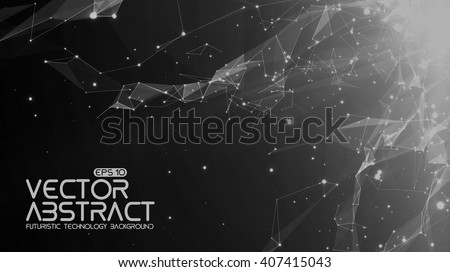Abstract vector space monochrome background. Chaotically connected points and polygons flying in space. Flying debris. Futuristic technology style. Elegant background for business presentations.  - stock vector