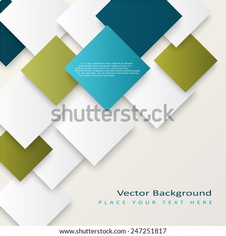 Abstract vector squares background. The template is ready to accommodate your text - stock vector