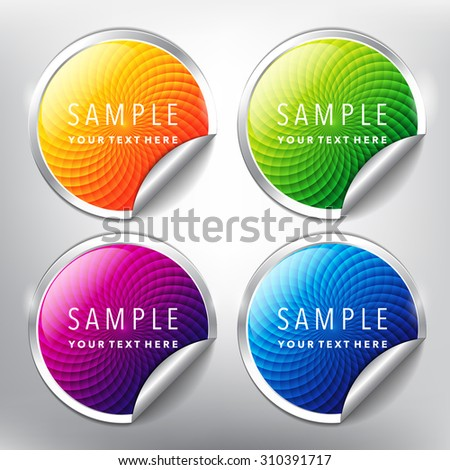 Abstract vector sticker set. Colorful and glossy. Vector illustration. Eps10. - stock vector