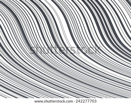 Abstract Vector Striped Background. Black and White Stripes . Wave Stripes . Vertical Curved Lines . - stock vector