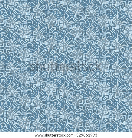 abstract vector swirl white and blue wave Japanese seamless pattern background - stock vector