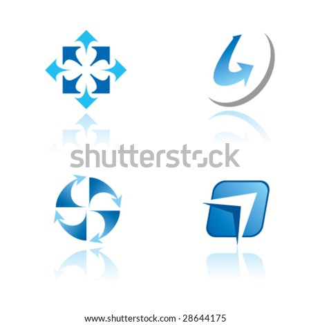 Abstract vector symbols (signs, icons, logos) with arrow - stock vector