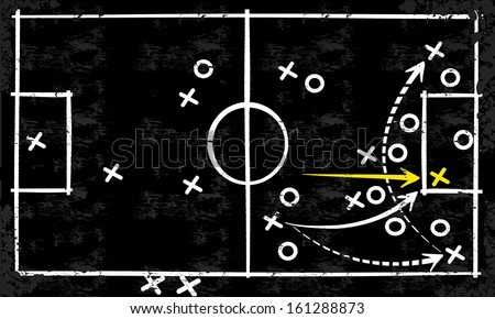Abstract vector tactic strategy concept sketched on a blackboard  - stock vector