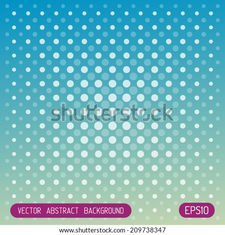 Abstract vector techno dots blue green background - stock vector