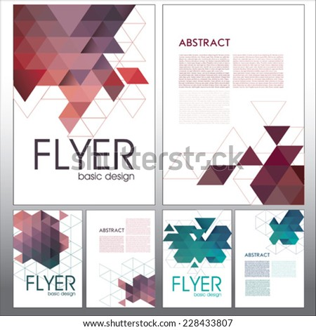Abstract vector template design,flyer, web sites, with colorful geometric triangular backgrounds - stock vector