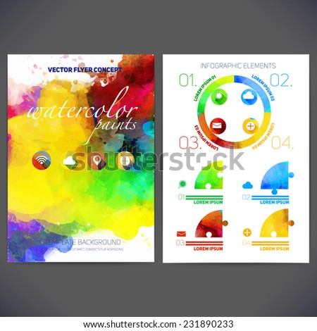 Abstract vector template flat design, flyer brochure, Web sites, page, leaflet, with colorful watercolor backgrounds, icons, logo and text separately for you. - stock vector
