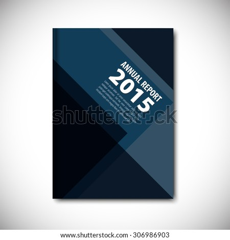 Abstract vector template layout for brochure, flyer, booklet, cover. Dark blue color version. - stock vector
