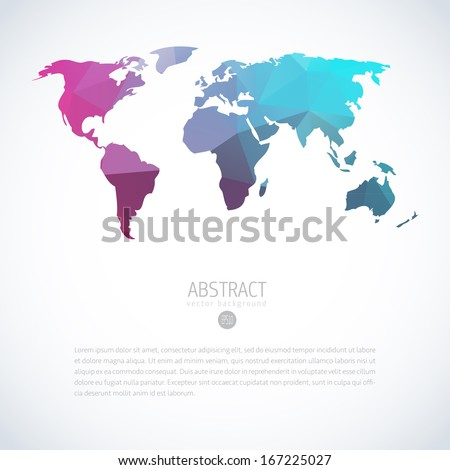 Abstract vector template with world map - stock vector