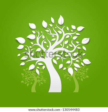 Abstract vector trees on green background - stock vector
