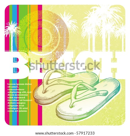 Abstract vector tropics and hand drawn slippers - stock vector