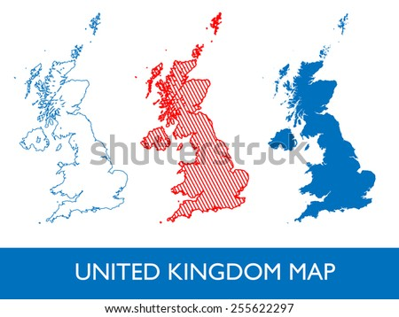 Abstract Vector - United Kingdom map - 3 design - stock vector