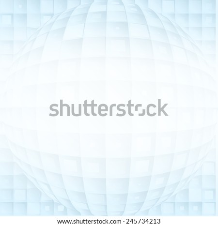 Abstract vector volume blue shapes on a white gradient background - stock vector