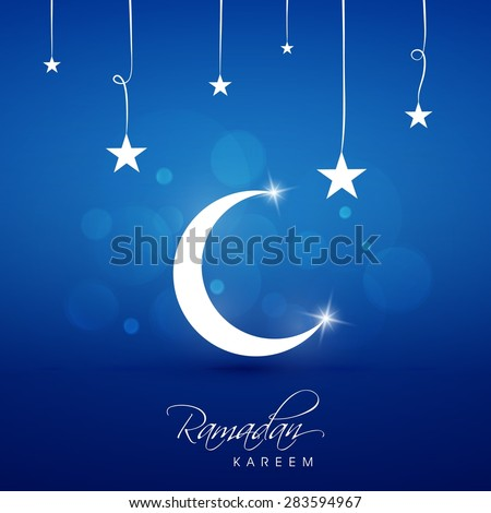abstract vector wallpaper background backdrop theme crescent moon star - stock vector