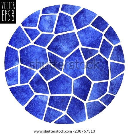 Abstract vector watercolor background. Round polygonal mosaic pattern. Ceramic tile or inlay stylization. Circle shape. Dark blue. - stock vector