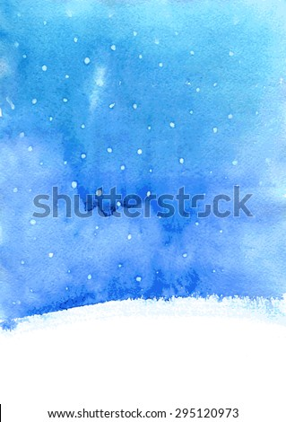 abstract vector watercolor landscape  with falling snow, winter watercolor background for new year or Christmas card,  blue and white backdrop, hand drawn vector illustration - stock vector