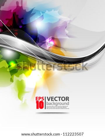 abstract vector wave design with multicolor ink  eps10 - stock vector