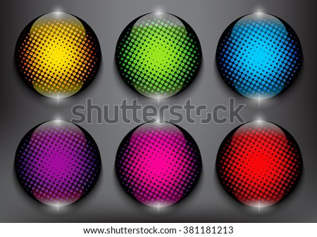 Abstract vector web buttons set of 6. Colorful and glossy on the black panel. Vector illustration. Eps10. - stock vector