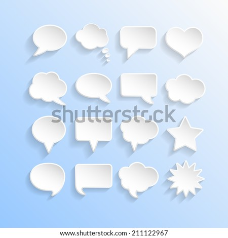 Abstract Vector White Speech Bubbles Set - stock vector