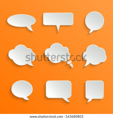 Abstract Vector White Speech Bubbles Set on Orange Background - stock vector