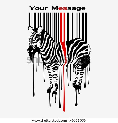 abstract vector zebra silhouette with smudges bar-code - stock vector