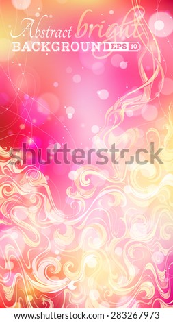 Abstract vertical background. Bright pink and yellow illustration. Swirls and light effects. There is place for text.  - stock vector