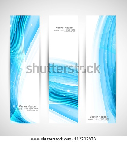 Abstract vertical header blue wave vector whit background - stock vector