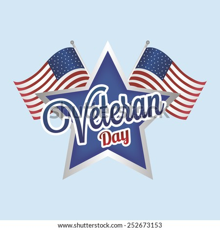 abstract veteran day object on a blue background - stock vector