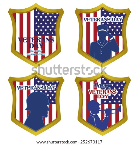 abstract veteran day objects on a white background - stock vector