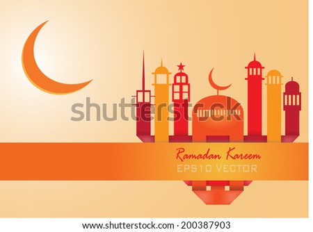 Abstract view of Mosque or Masjid in heart shape and moon, paper design, vector eps10 - stock vector