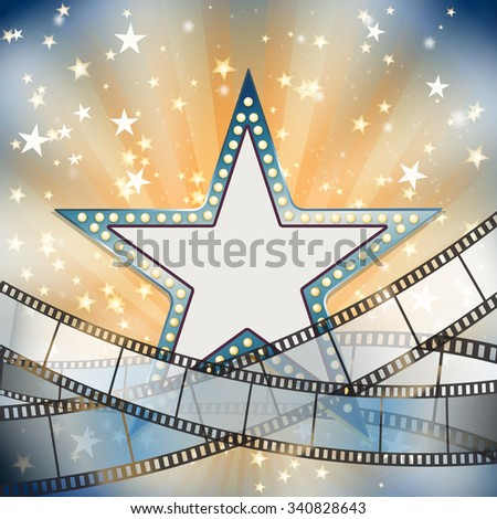 abstract vintage cinema background with blue metallic star  - stock vector