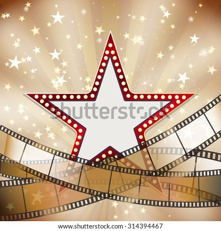 abstract vintage cinema background with red star  - stock vector