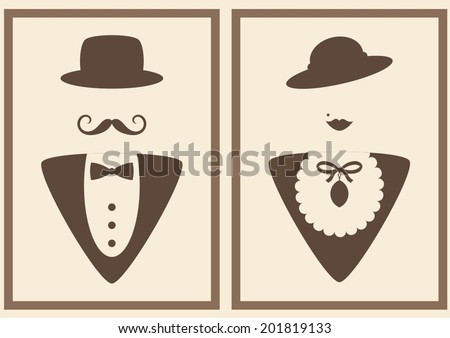 abstract vintage lady and gentleman sign - stock vector