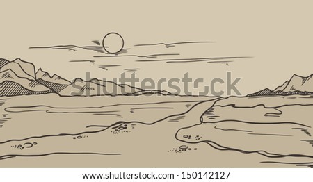 abstract vintage vector landscape - stock vector