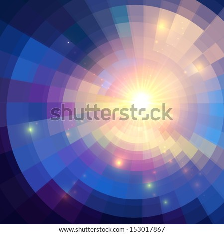Abstract violet shining circle tunnel vector background - stock vector
