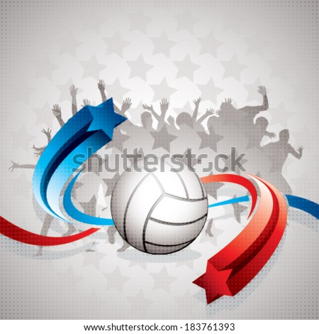 Abstract volleyball background with white volley ball, blue and red arrows and watchers - stock vector