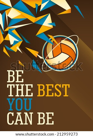 Abstract volleyball poster in color. Vector illustration. - stock vector