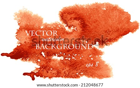 Abstract watercolor art hand paint isolated on white background. Watercolor stains. Red and orange watercolor banner - stock vector