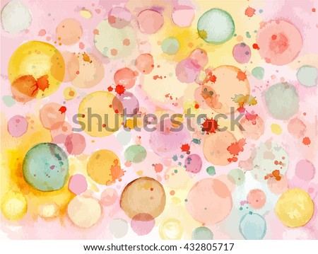 Abstract watercolor background texture with pastel colored bubbles; scalable vector graphic - stock vector