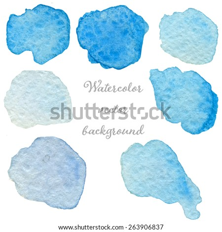 Abstract watercolor blue and violet hand drawn texture set, isolated on white background, vector eps10 - stock vector