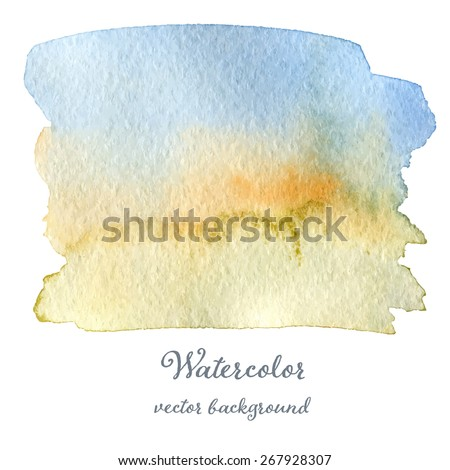 Abstract watercolor blue orange and green hand drawn texture, isolated on white background, vector eps10 - stock vector