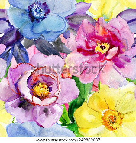 Abstract watercolor hand painted backgrounds with magnolia, lily , orchid flowers and tropical leaves. vector,  - stock vector
