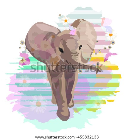 Abstract watercolor pattern baby elephant, floral colorful background with striped spots,  vector color print design textile, cool style for summer, draw animals - stock vector