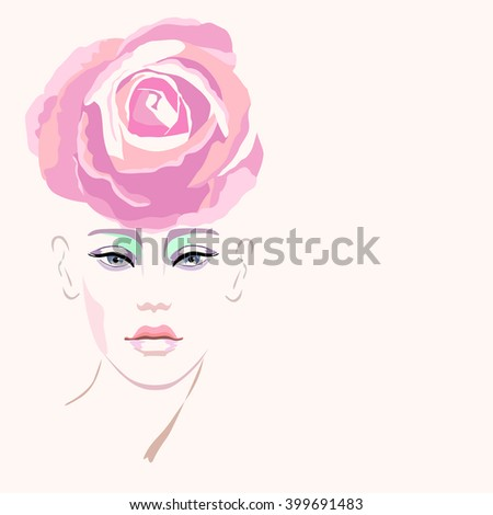 Abstract watercolor portrait of a model (girl), hat-shaped pink roses, beauty logo, fashion - stock vector