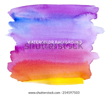 Abstract watercolor rainbow gradient background. Sky with yellow and orange sunset. Hand drawn painting on texture paper. Vector illustration. - stock vector