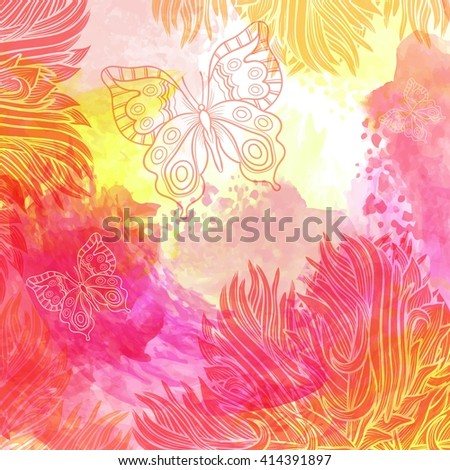 Abstract watercolor  texture background. Colorful handmade technique. Vector. - stock vector