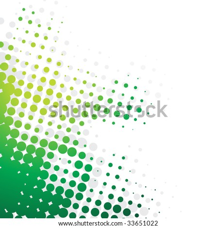 Abstract wave halftone background with green color halftone - stock vector