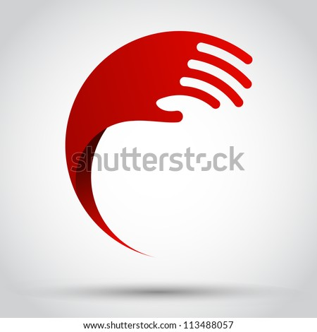 Abstract wave hand - stock vector